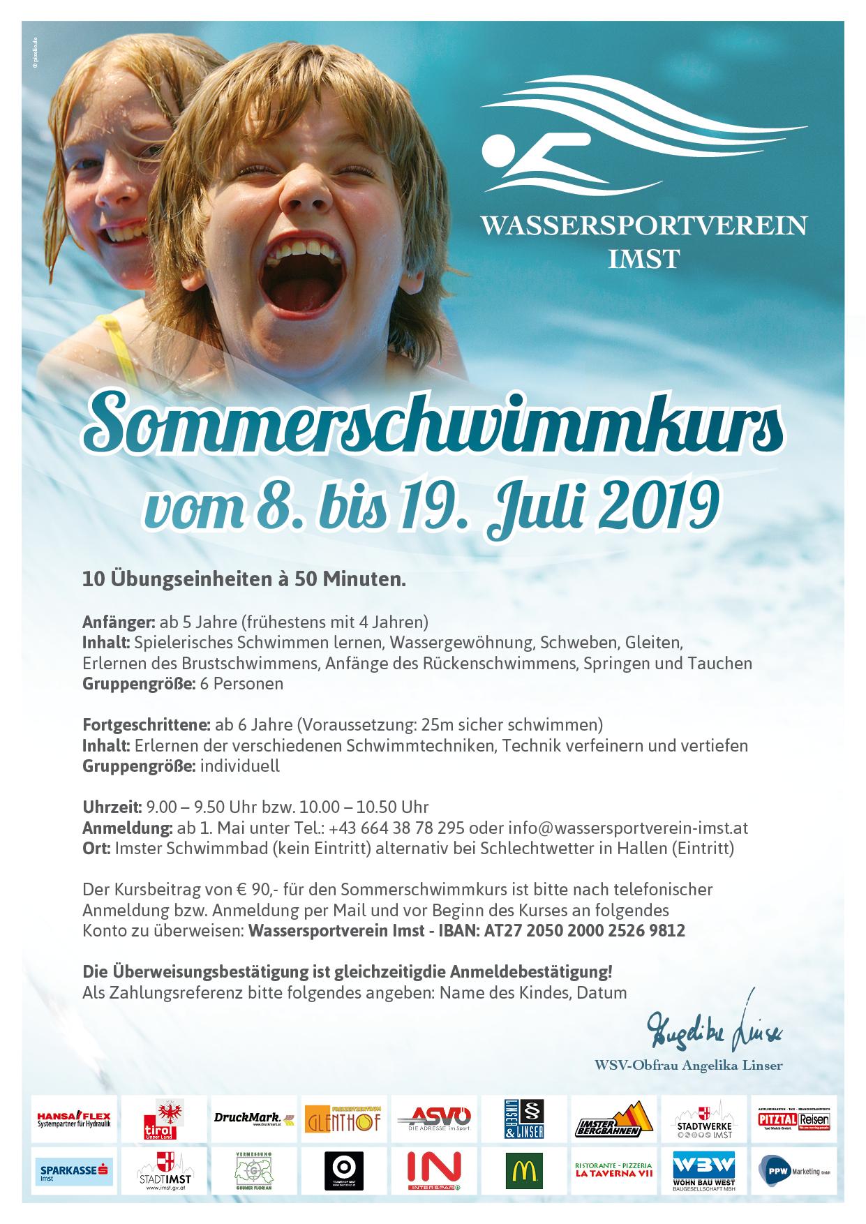 Ausschreibung Sommerschwimmkurs 2019 Low