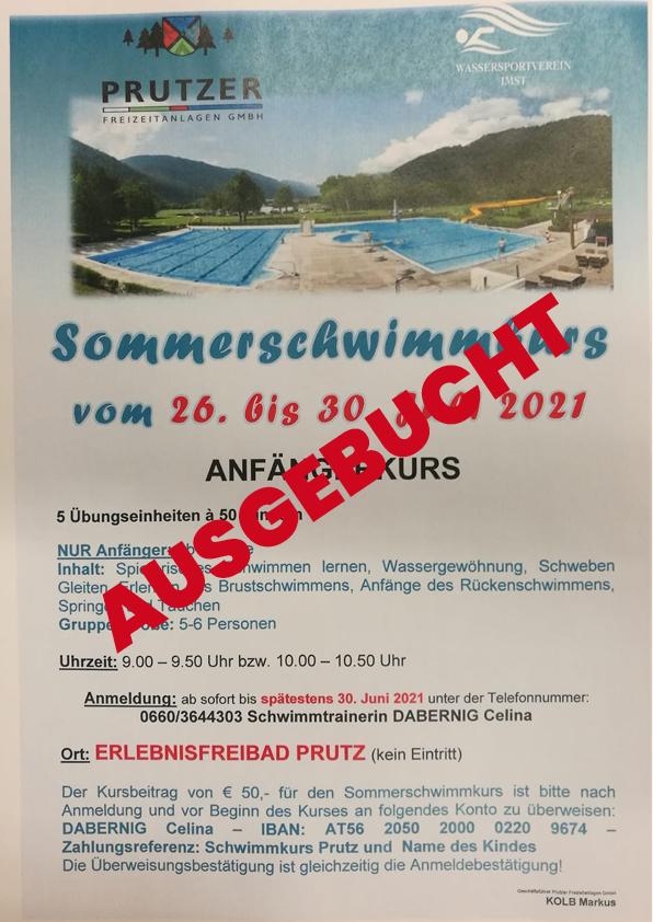 Sommerschwimmkurs In Prutz Vom 26. Bis 30. Juli 2021